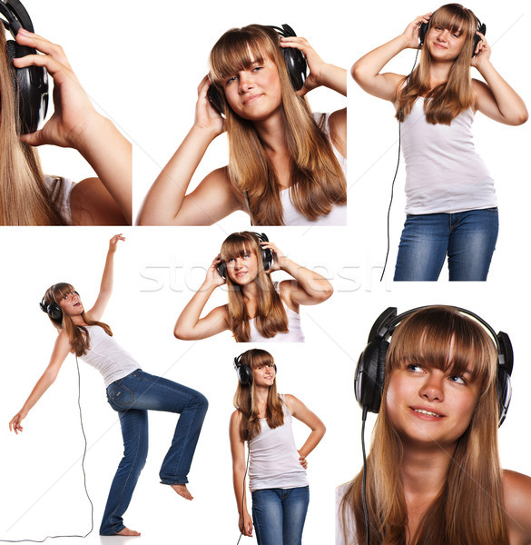 Set of images smiling teen girl listening to music isolated on white  Stock photo © julenochek