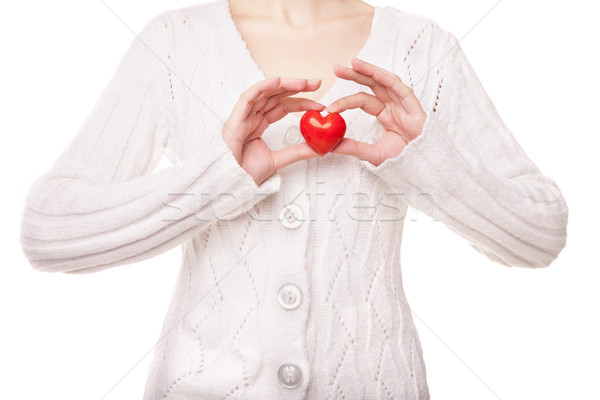Mulher coração amor isolado Foto stock © julenochek