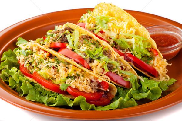 Wołowiny tacos Sałatka pomidory salsa Zdjęcia stock © julenochek