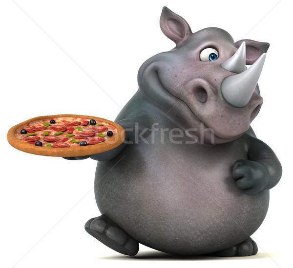 Zabawy nosorożec 3d ilustracji pizza tłuszczu zwierząt Zdjęcia stock © julientromeur