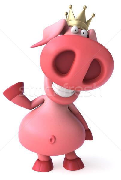 Fun pig with crown - 3D Illustration Stock photo © julientromeur