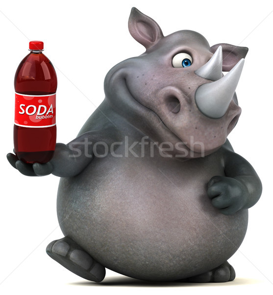 Foto stock: Diversão · rinoceronte · ilustração · 3d · beber · gordura · animal