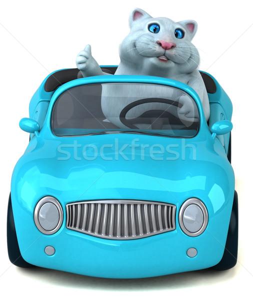 Divertimento cat illustrazione 3d auto bianco cartoon Foto d'archivio © julientromeur