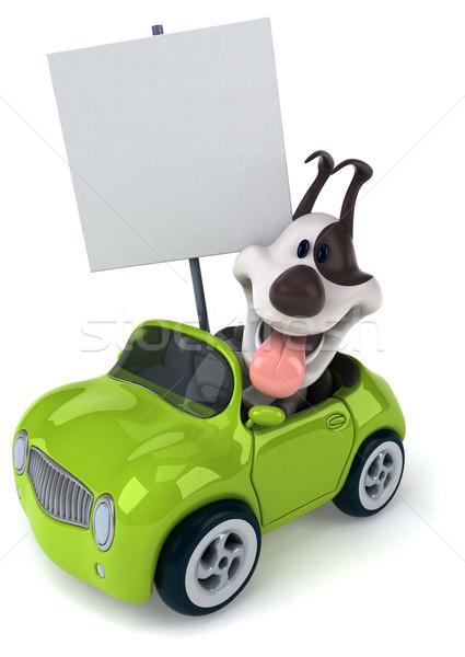 Eğlence köpek araba Metal yeşil köpekler Stok fotoğraf © julientromeur