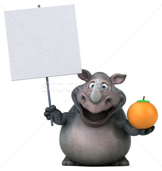Foto stock: Diversão · rinoceronte · ilustração · 3d · fruto · laranja · gordura