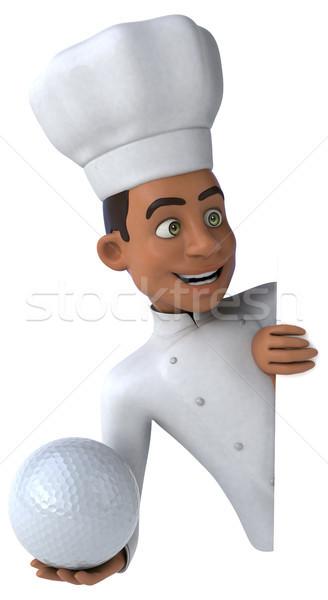 Jókedv szakács golf étterem labda fekete Stock fotó © julientromeur