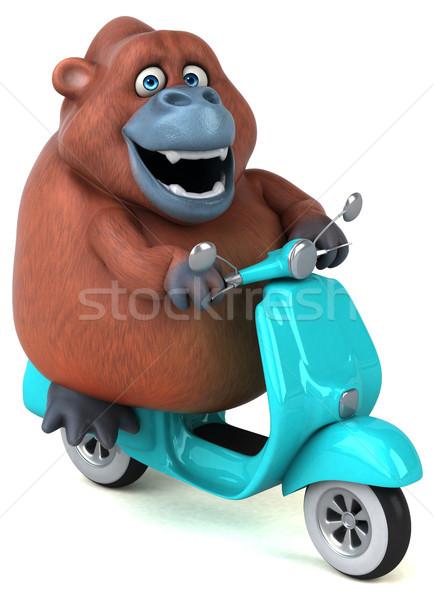Jókedv 3d illusztráció modell művészet bicikli majom Stock fotó © julientromeur