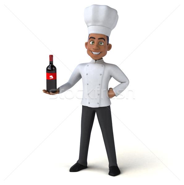 Jókedv szakács konyha ital piros fehér Stock fotó © julientromeur