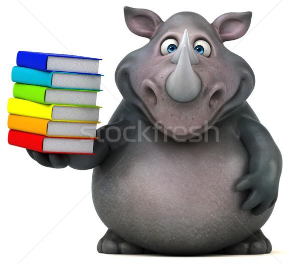 Jókedv orrszarvú 3d illusztráció könyvek kövér állat Stock fotó © julientromeur