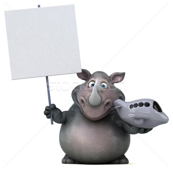Distracţie rinocer ilustrare 3d plan grăsime zbura Imagine de stoc © julientromeur