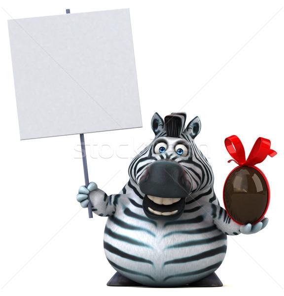 Eğlence zebra 3d illustration Paskalya çikolata Afrika Stok fotoğraf © julientromeur