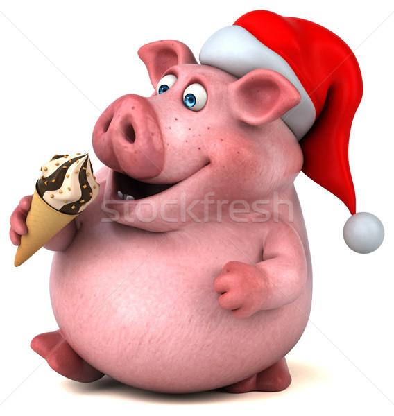 весело свинья 3d иллюстрации шоколадом жира Рождества Сток-фото © julientromeur