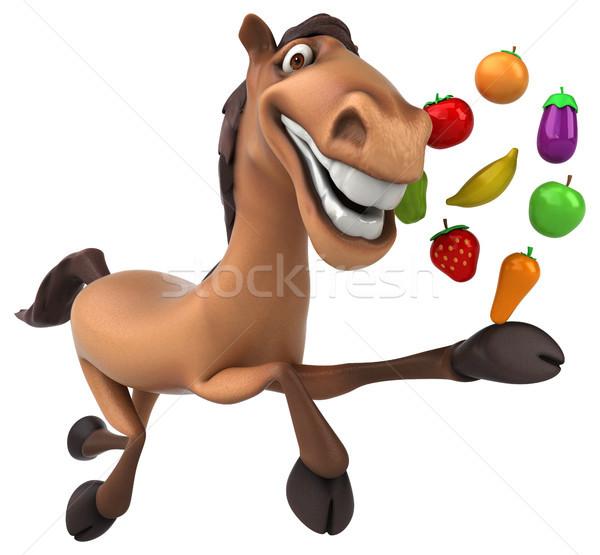Diversión caballo frutas naranja dientes plátano Foto stock © julientromeur