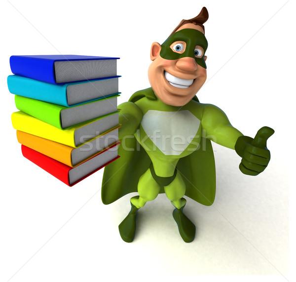 Jókedv szuperhős férfi könyvek test sebesség Stock fotó © julientromeur