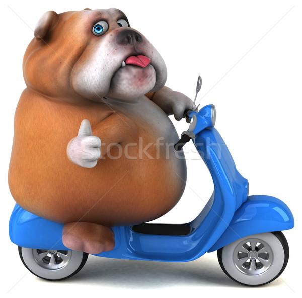 Leuk bulldog 3d illustration hond model fiets Stockfoto © julientromeur