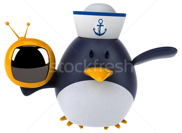 Eğlence penguen 3d illustration kuş ekran komik Stok fotoğraf © julientromeur