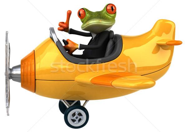 ストックフォト: 楽しい · カエル · ビジネス · 緑 · 飛行機 · 平面