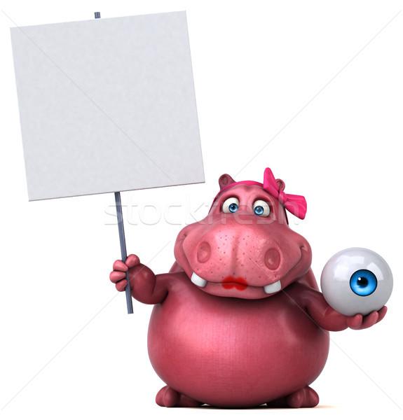 Pink Hippo - 3D Illustration Stock photo © julientromeur