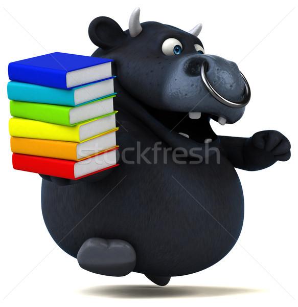 Siyah boğa 3d illustration kitaplar saç inek Stok fotoğraf © julientromeur