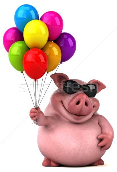 Zabawy wieprzowych 3d ilustracji tłuszczu balon różowy Zdjęcia stock © julientromeur