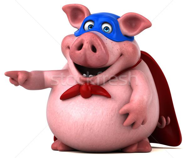 весело свинья 3d иллюстрации маске жира розовый Сток-фото © julientromeur