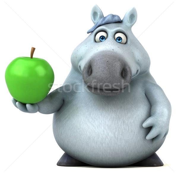 Jókedv ló 3d illusztráció gyümölcs zöld farm Stock fotó © julientromeur