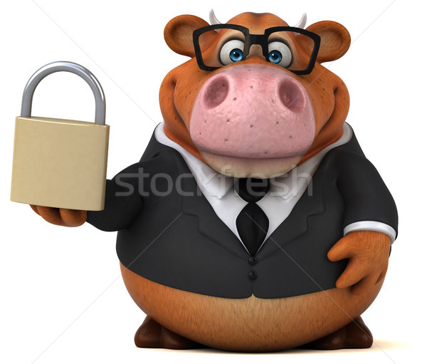 Leuk koe 3d illustration veiligheid zakenman pak Stockfoto © julientromeur