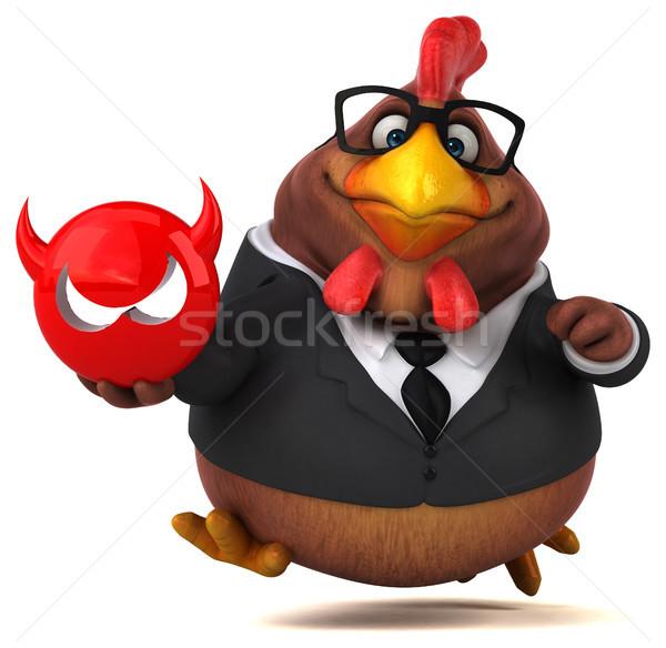 Eğlence tavuk 3d illustration bilgisayar kuş takım elbise Stok fotoğraf © julientromeur