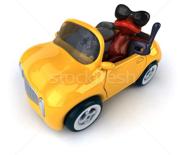 Jókedv béka 3d illusztráció autó piros környezet Stock fotó © julientromeur