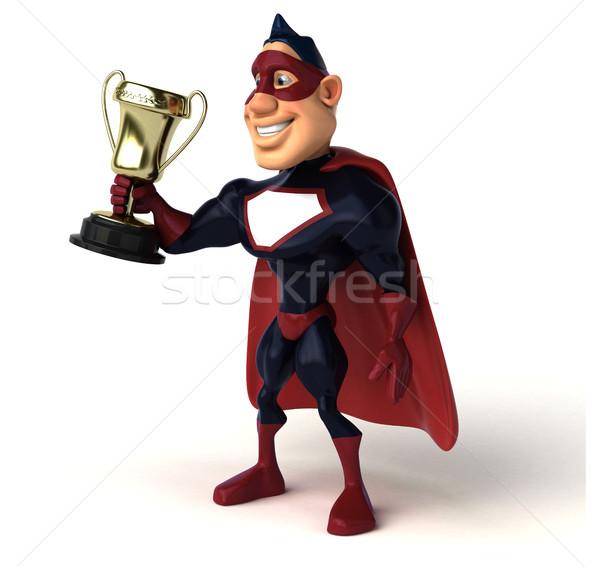 楽しい スーパーヒーロー 3次元の図 スポーツ ボディ 青 ストックフォト © julientromeur
