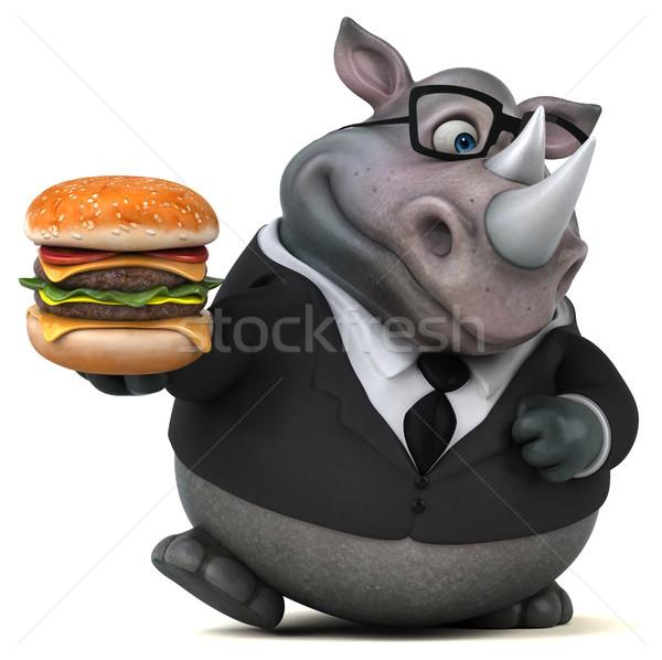 Zabawy nosorożec 3d ilustracji biznesmen garnitur tłuszczu Zdjęcia stock © julientromeur
