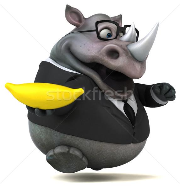 Distracţie rinocer ilustrare 3d om de afaceri costum banană Imagine de stoc © julientromeur
