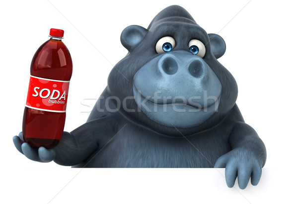 Leuk gorilla 3d illustration natuur drinken afrika Stockfoto © julientromeur