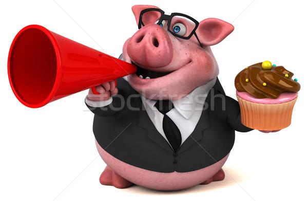 весело свинья 3d иллюстрации костюм фермы Финансы Сток-фото © julientromeur