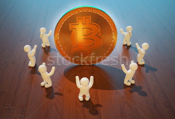 Bitcoin 3d ilustracji Internetu finansów rynku euro Zdjęcia stock © julientromeur