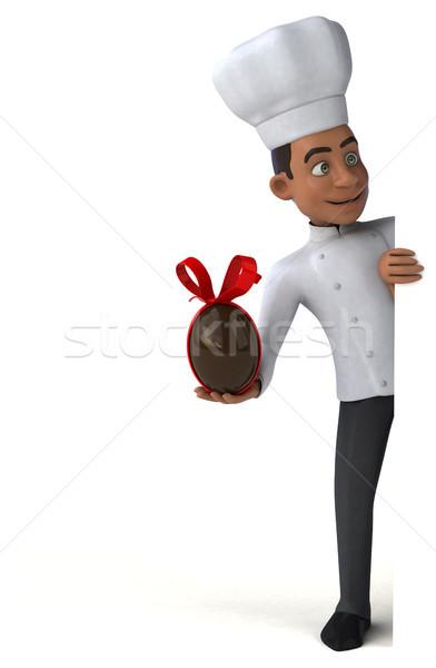 Jókedv szakács húsvét csokoládé konyha étterem Stock fotó © julientromeur