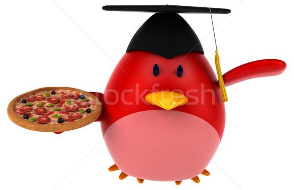 Сток-фото: красный · птица · 3d · иллюстрации · пиццы · оранжевый · груди