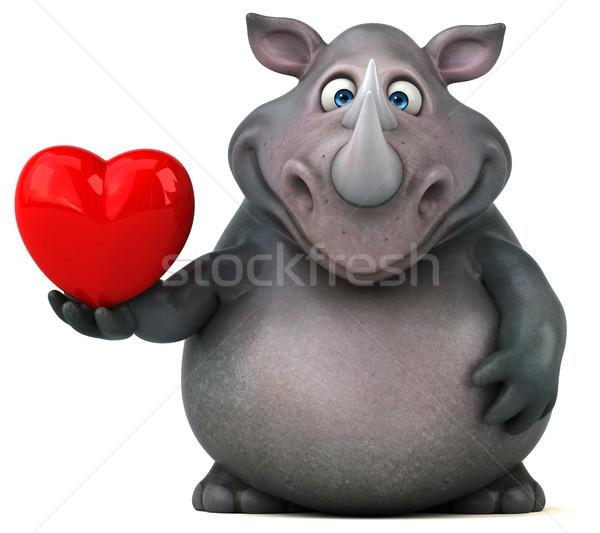 Foto stock: Diversão · rinoceronte · ilustração · 3d · coração · gordura · animal