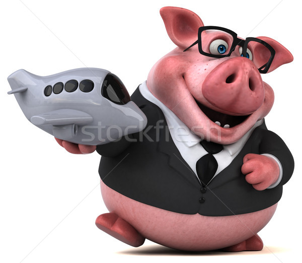 Stok fotoğraf: Eğlence · domuz · 3d · illustration · seyahat · takım · elbise · düzlem