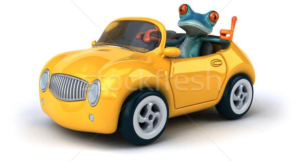 Diversão sapo ilustração 3d carro azul tropical Foto stock © julientromeur