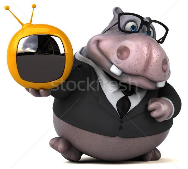 весело гиппопотам 3d иллюстрации телевидение природы бизнесмен Сток-фото © julientromeur
