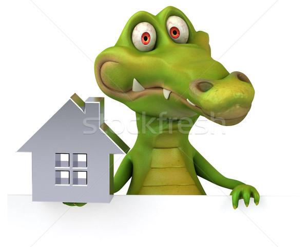 Krokodil eğlence ev mutlu dizayn ev Stok fotoğraf © julientromeur