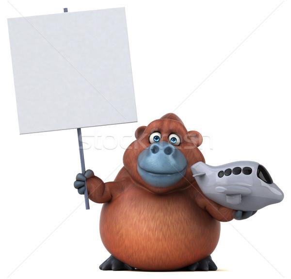 Eğlence 3d illustration doğa düzlem Afrika maymun Stok fotoğraf © julientromeur