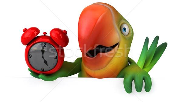 Diversão papagaio olho relógio pássaro verde Foto stock © julientromeur