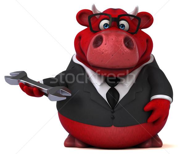 赤 牛 3次元の図 草 スーツ 楽しい ストックフォト © julientromeur