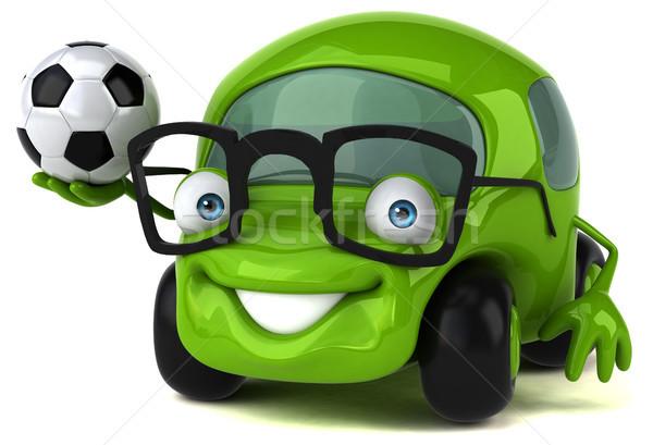 Leuk auto 3d illustration weg voetbal voetbal Stockfoto © julientromeur