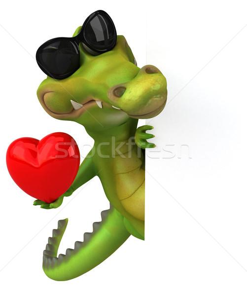 Krokodil eğlence mutlu kalp dizayn sanat Stok fotoğraf © julientromeur