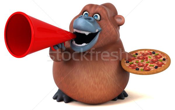 Eğlence 3d illustration doğa pizza Afrika maymun Stok fotoğraf © julientromeur