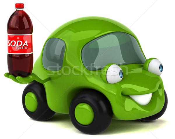 Leuk auto 3d illustration weg metaal groene Stockfoto © julientromeur