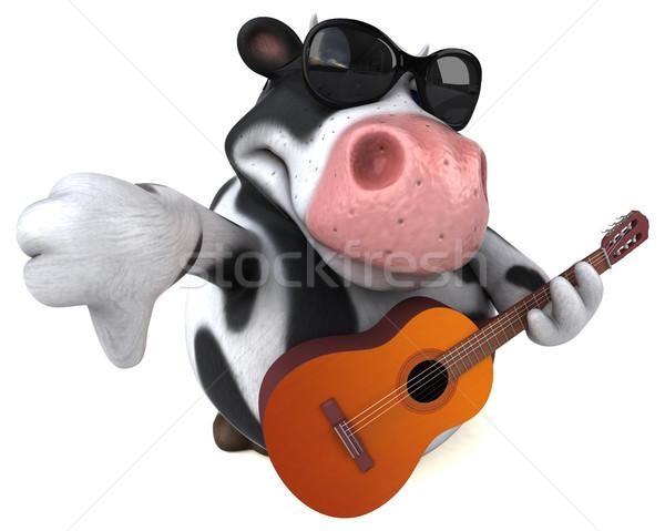 Eğlence inek 3d illustration müzik gitar saç Stok fotoğraf © julientromeur